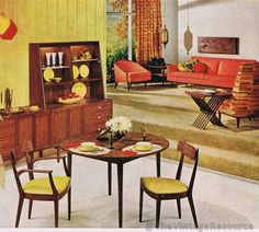 Drexel Declaration 1959--Love the bi level living room/dining room. And all of the Mid Century Modern furnishings, of course