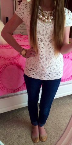 Blue Jeans + Lace Top