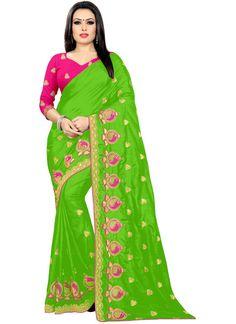 Green Embroidered Silk Classic Designer Saree Silk Sarees, Parrot, Sari, Amazon, Stuff To Buy, Color, Fashion, Saree, Moda