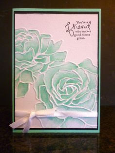 Coloured with Stampin' Up ink on water colour paper Homemade Wedding Cards, Homemade Cards, Altenew Cards, Embossed Cards, Stamping Up Cards, Get Well Cards, Watercolor Cards, Sympathy Cards, Embossing Folder