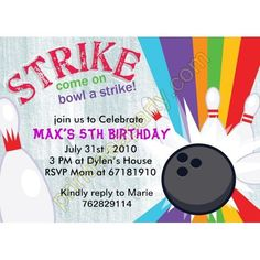 Lucky Strike Bowling birthday party invitation -Customizable -- Any age- girl or boy digital file