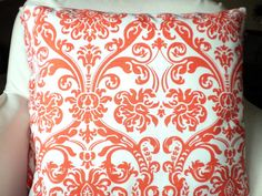 Orange White Damask Pillows, Decorative Throw Pillows, Cushion Covers, Pillows for Couch, Orange White Abigail, One or More All Sizes