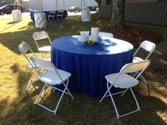 Tables, chairs and linen table cloths set-up for a customer Party Chair Rentals, Table Linen Rentals, Cheap Office Chairs, Cheap Chairs, Tufted Dining Chairs, Lounge Chairs, Corporate Event Planner, Wrought Iron Patio Chairs, Outdoor Furniture Sets