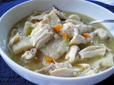 This might make me eat meat again.  Chicken and Dumplings (favorite thing my mom made us when we were younger).