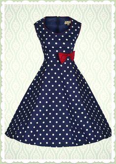Lindy Bop 50er Jahre Rockabilly Petticoat Punkte Kleid - Leda - Blau