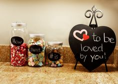 Valentines Day.. Jars from World Market. Heart chalkboard--target