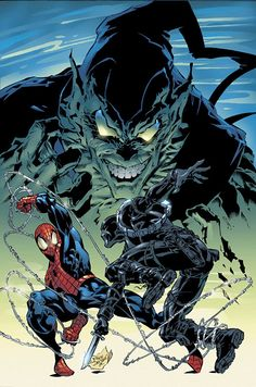 Spider-Man, Agent Venom and Green Goblin by Mike Deodato Jr Marvel Comic Character, Marvel Comic Books, Marvel Characters, Comic Books Art, Comic Art, Book Art, Marvel Comics, Marvel Dc, Mike Deodato Jr