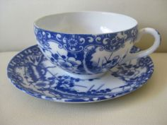 Antique / vintage Chinese blue and white eggshell porcelain tea cup and saucer