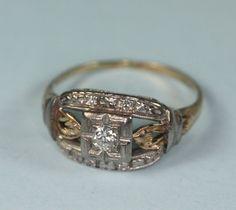 Art Deco Diamond White Gold Yellow Gold Ring Engagement Bridal