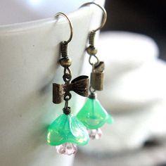 Aqua FlowerShaped Czech Glass Bead Earrings  by carolinascreations, $5.00