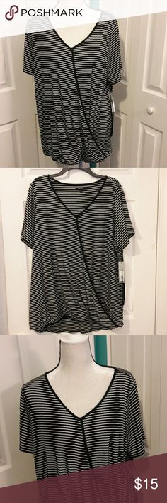 NEW CRISS CROSS TOP NEW. Black and White Stripe. Short sleeve. Criss cross in front. Gathered at bottom. Roomy and Comfy. Rayon, Spandex. Apt. 9 Tops