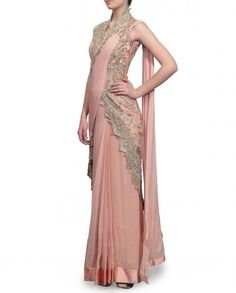 Blush Saree Gown with Floral Embroidery