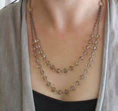 Check out this item in my Etsy shop https://www.etsy.com/listing/465868500/champagne-long-layered-necklace