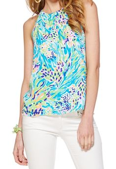 Lilly Pulitzer Skylar Halter Top in Sea Soiree