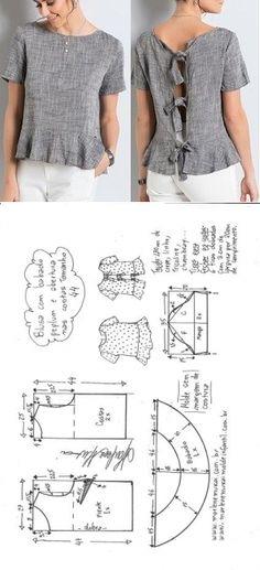 Шитье простые выкройки Blusa peplum com manga com abertura nas costas Blouse Patterns, Clothing Patterns, Sewing Patterns, Sewing Ideas, Sewing Projects, T Shirt Yarn, T Shirt Diy, Robe Diy, Cut Up Shirts