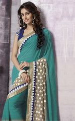 Rama Green Color Wrinkle Chiffon Party Wear Sarees : Prunit Collection YF-37763