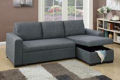 Poundex Grey Fabric Sectional Sofa F6931