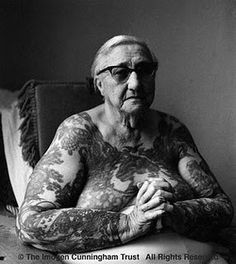 Betty Broadbent (1909-1983), the Tattooed Lady.  traveled with Ringling Brothers Circus in the 1930s and was a star attraction for years.