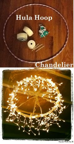 diy chandelier with hula hoop, lace ribbon, hot glue, and icicle christmas lights