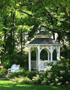 A gazebo would be a wonderful place to sit or take beautiful photos of friends and family.