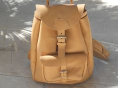 Natural Leather Backpack