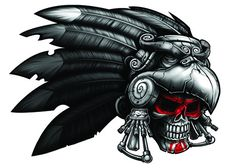 Aztec Warrior Skull Temporary Tattoo - Negro y Gris Black and Grey Tattoos