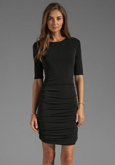Alice + Olivia Half Sleeve Ruched Dress in Black