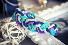 Handmade braid cord made from suede and chains with magnetic clasp