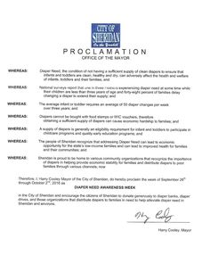 SHERIDAN, OH - Mayoral proclamation recognizing Diaper Need Awareness Week (Sep. 26-Oct. 2, 2016) #DiaperNeed Diaperneed.org