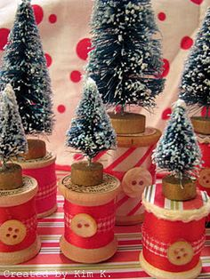 wooden spool Christmas trees