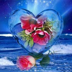 Hearts and flowers so peaceful and soothing