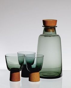 MCM Decanter w/ glasses on wood pedestal-like base... c.1961 by; Willy Johansson