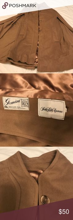 Gemini Saks 5th Avenue Cape Coat Guys! This is amazing! 100% wool cape coat with beautiful camel color! Comes with a belt; no size listed but I'm a L/XL and this is snug on me, so I'm going S/M depending on how you want to layer/wear it! Saks Fifth Avenue Jackets & Coats Capes