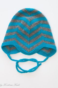 Boys turquoise and gray tripped baby hat / hand knitted baby hat baby pilot hat Made to order