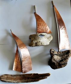 "Driftwood sailboat trilogy -driftwood art-wall hanging driftwood sailboat with 2 sails made from copper - ""Sifnos"" - Boat Nr.  3"