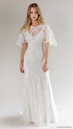 claire pettibone bridal spring 2017 flutter sleeves vneck lace wedding dress (silverlake) mv romantic