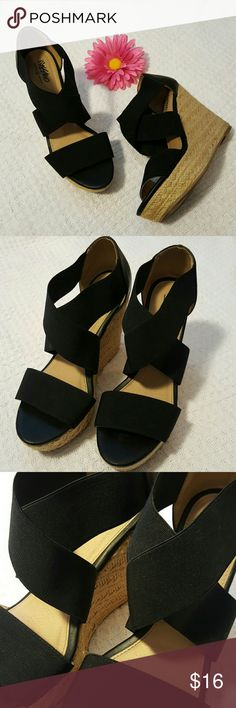 MOSSIMO Wedges Black strappy wedges. Straps are elastic type, with leather heel, toe area does not stretch. Looks so great with skinny jeans or a summer dress, or just about anything!   Can ship sooner by request! Follow me on Instagram @rebas_boutique ⚘🌹 Mossimo Supply Co Shoes Wedges
