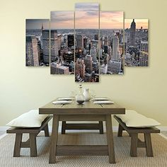 Modern Landscape Wall Art Empire State Building Painting Posters and Prints 5 Piece Paintings on Canvas for Living Room Stretched Ready to Hang (24Wx40L)