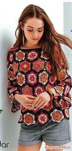 Openwork jumper of motives. Crochet Fabric, Crochet Jacket, Crochet Cardigan, Diy Crochet, Crochet Top, Crochet Patterns, Crochet Bodycon Dresses, Hippie Crochet, Jacket Pattern