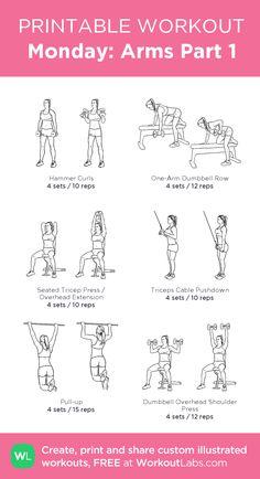 Gym weekly workout plan, gym back workout, gym workout plan for w Gym Weekly Workout Plan, Gym Back Workout, Arm Day Workout, Tone Arms Workout, Gym Workout Plan For Women, Monday Workout, Gym Workouts Women, Gym Workout For Beginners, Arm Workouts Gym