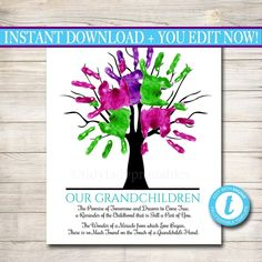 Your Shopping Cart – TidyLady Printables Grandparents Day Poem, Grandparent Gifts, Thumbprint Tree, Handprint Art, Fathers Day Crafts, One Tree, Grandpa Gifts, Grandkids, Grandchildren