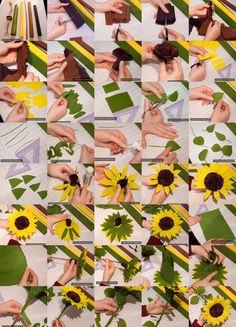 Crepe paper sunflower - kwiaty-z-bibuly.pl