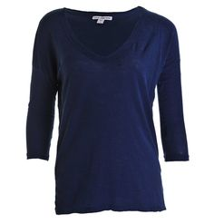 Relaxed Fit V-Neck Tee in Blue - James Perse Relaxed Fit V-Neck Tee Blue: A relaxed loose fitting tee shirt with long sleeves, deep v-neck and three quarter length sleeves. The James Perse tee is styled in a loose, easy shape and perfect for off duty days. 100% cotton Cool wash