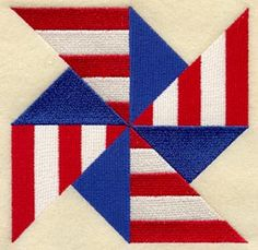 Pinwheel Quilt Block - Red, White and Blue! Love the use of stripes!!