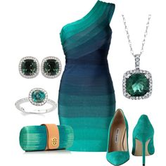 Alexandrite shades of Green by bethany-falmer on Polyvore featuring Hervé Léger, Manolo Blahnik, Tory Burch, Reeds Jewelers and Tiffany & Co.