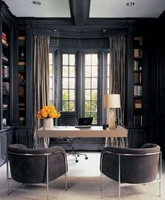 Office Space. Ooooh, love the dark wood, but it has big windows to let lots of light in!