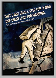Moon Landing Neil Armstrong Poster - for space themed room