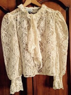 Vintage Rag O Muffins San Francisco Victorian Sheer Lace Blouse Large #RagOMuffins #ButtonDownShirt #any