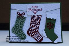 Stampin' Up! hand stamped card using Hang your stockings stamp set, Christmas stockings thinlits, tags & labels framelits