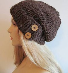 slouchy hat knitting pattern with brim and button
